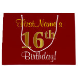 [ Thumbnail: Elegant, Red, Faux Gold 16th Birthday; Custom Name Gift Bag ]
