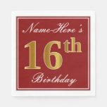[ Thumbnail: Elegant Red, Faux Gold 16th Birthday + Custom Name Paper Napkin ]