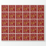 [ Thumbnail: Elegant, Red, Faux Gold 16th Birthday; Custom Name Wrapping Paper ]