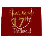 [ Thumbnail: Elegant, Red, Faux Gold 17th Birthday; Custom Name Gift Bag ]