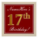 [ Thumbnail: Elegant, Red, Faux Gold 17th Birthday; Custom Name Poster ]