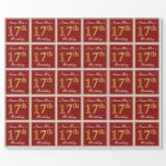 [ Thumbnail: Elegant, Red, Faux Gold 17th Birthday; Custom Name Wrapping Paper ]
