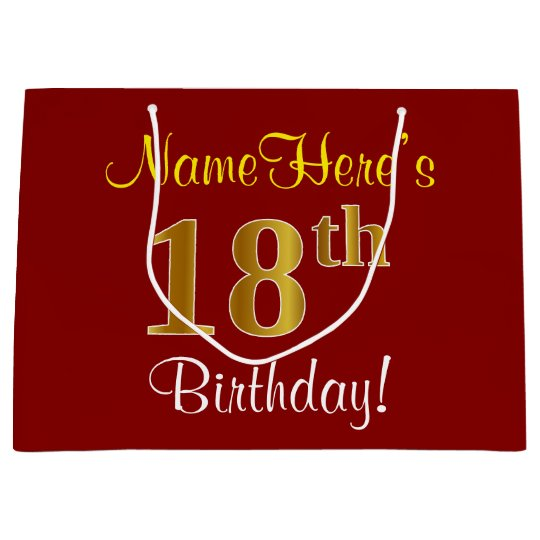 Elegant Red Faux Gold 18th Birthday Custom Name Large Gift Bag