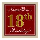 [ Thumbnail: Elegant, Red, Faux Gold 18th Birthday; Custom Name Poster ]