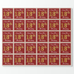 [ Thumbnail: Elegant, Red, Faux Gold 18th Birthday; Custom Name Wrapping Paper ]