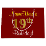 [ Thumbnail: Elegant, Red, Faux Gold 19th Birthday; Custom Name Gift Bag ]