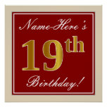 [ Thumbnail: Elegant, Red, Faux Gold 19th Birthday; Custom Name Poster ]