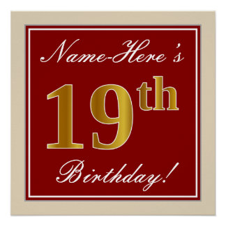 Elegant, Red, Faux Gold 19th Birthday; Custom Name Poster