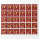 [ Thumbnail: Elegant, Red, Faux Gold 19th Birthday; Custom Name Wrapping Paper ]
