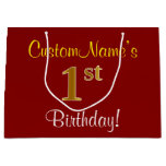 [ Thumbnail: Elegant, Red, Faux Gold 1st Birthday + Custom Name Gift Bag ]