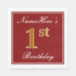 [ Thumbnail: Elegant Red, Faux Gold 1st Birthday + Custom Name Napkin ]