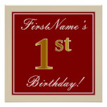 [ Thumbnail: Elegant, Red, Faux Gold 1st Birthday + Custom Name Poster ]
