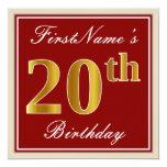 [ Thumbnail: Elegant, Red, Faux Gold 20th Birthday; Custom Name Invitation ]