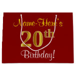 [ Thumbnail: Elegant, Red, Faux Gold 20th Birthday; Custom Name Gift Bag ]