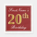 [ Thumbnail: Elegant Red, Faux Gold 20th Birthday + Custom Name Paper Napkin ]