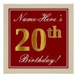 [ Thumbnail: Elegant, Red, Faux Gold 20th Birthday; Custom Name Poster ]