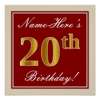 Elegant, Red, Faux Gold 20th Birthday; Custom Name Poster