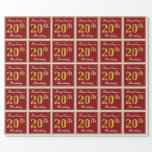 [ Thumbnail: Elegant, Red, Faux Gold 20th Birthday; Custom Name Wrapping Paper ]