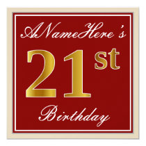 Elegant, Red, Faux Gold 21st Birthday; Custom Name Invitation