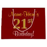 [ Thumbnail: Elegant, Red, Faux Gold 21st Birthday; Custom Name Gift Bag ]