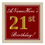 [ Thumbnail: Elegant, Red, Faux Gold 21st Birthday; Custom Name Poster ]