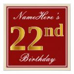 [ Thumbnail: Elegant, Red, Faux Gold 22nd Birthday; Custom Name Invitation ]