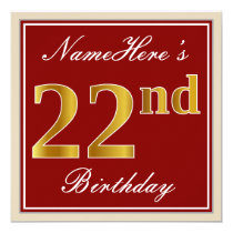 Elegant, Red, Faux Gold 22nd Birthday; Custom Name Invitation