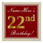[ Thumbnail: Elegant, Red, Faux Gold 22nd Birthday; Custom Name Poster ]