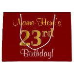 [ Thumbnail: Elegant, Red, Faux Gold 23rd Birthday; Custom Name Gift Bag ]