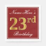 [ Thumbnail: Elegant Red, Faux Gold 23rd Birthday + Custom Name Napkin ]
