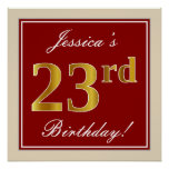 [ Thumbnail: Elegant, Red, Faux Gold 23rd Birthday; Custom Name Poster ]