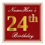 [ Thumbnail: Elegant, Red, Faux Gold 24th Birthday; Custom Name Invitation ]