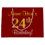 [ Thumbnail: Elegant, Red, Faux Gold 24th Birthday; Custom Name Gift Bag ]