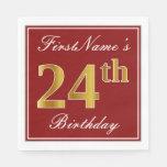 [ Thumbnail: Elegant Red, Faux Gold 24th Birthday + Custom Name Napkin ]
