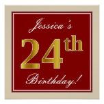 [ Thumbnail: Elegant, Red, Faux Gold 24th Birthday; Custom Name Poster ]