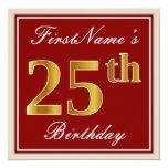 [ Thumbnail: Elegant, Red, Faux Gold 25th Birthday; Custom Name Invitation ]