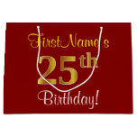 [ Thumbnail: Elegant, Red, Faux Gold 25th Birthday; Custom Name Gift Bag ]