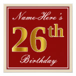 [ Thumbnail: Elegant, Red, Faux Gold 26th Birthday; Custom Name Invitation ]