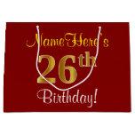 [ Thumbnail: Elegant, Red, Faux Gold 26th Birthday; Custom Name Gift Bag ]