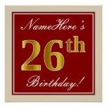 [ Thumbnail: Elegant, Red, Faux Gold 26th Birthday; Custom Name Poster ]