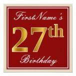 [ Thumbnail: Elegant, Red, Faux Gold 27th Birthday; Custom Name Invitation ]