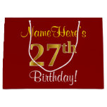[ Thumbnail: Elegant, Red, Faux Gold 27th Birthday; Custom Name Gift Bag ]