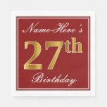 [ Thumbnail: Elegant Red, Faux Gold 27th Birthday + Custom Name Napkin ]