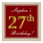 [ Thumbnail: Elegant, Red, Faux Gold 27th Birthday; Custom Name Poster ]