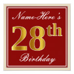 [ Thumbnail: Elegant, Red, Faux Gold 28th Birthday; Custom Name Invitation ]