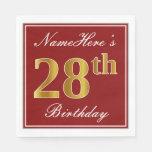 [ Thumbnail: Elegant Red, Faux Gold 28th Birthday + Custom Name Napkin ]