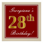[ Thumbnail: Elegant, Red, Faux Gold 28th Birthday; Custom Name Poster ]