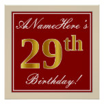 [ Thumbnail: Elegant, Red, Faux Gold 29th Birthday; Custom Name Poster ]