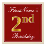 [ Thumbnail: Elegant, Red, Faux Gold 2nd Birthday + Custom Name Invitation ]