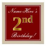 [ Thumbnail: Elegant, Red, Faux Gold 2nd Birthday + Custom Name Poster ]